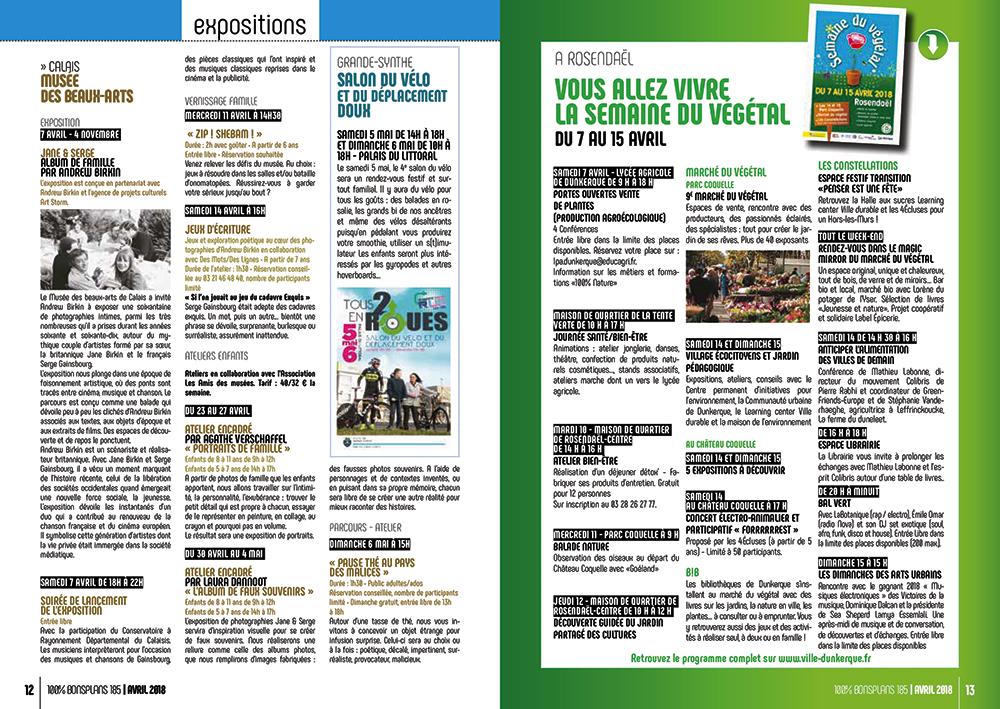 Exemple double page mise en page magazine 100% BONSPLANS - Arzur Philippe Graphiste FreeLance - Tél 06 87 24 05 17 - Mise en page, création graphique, direction artistique