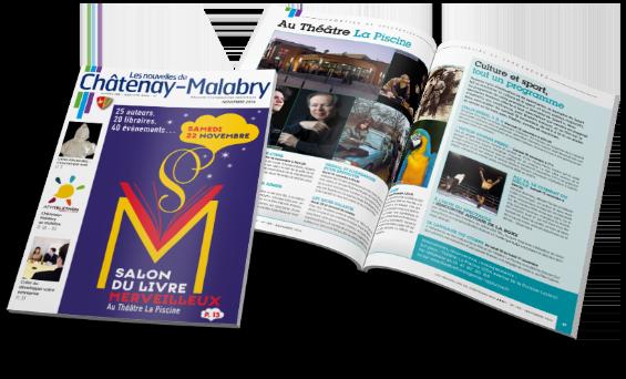 Une mise en page magazine les Nouvelles de Chatenay Malabry- Arzur Philippe Graphiste FreeLance - Tél 06 87 24 05 17 - Mise en page, création graphique, direction artistique
