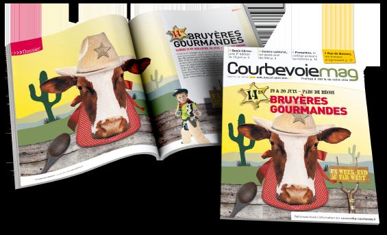 Une mise en page magazine CourbevoieMag - Arzur Philippe Graphiste FreeLance - Tél 06 87 24 05 17 - Mise en page, création graphique, direction artistique