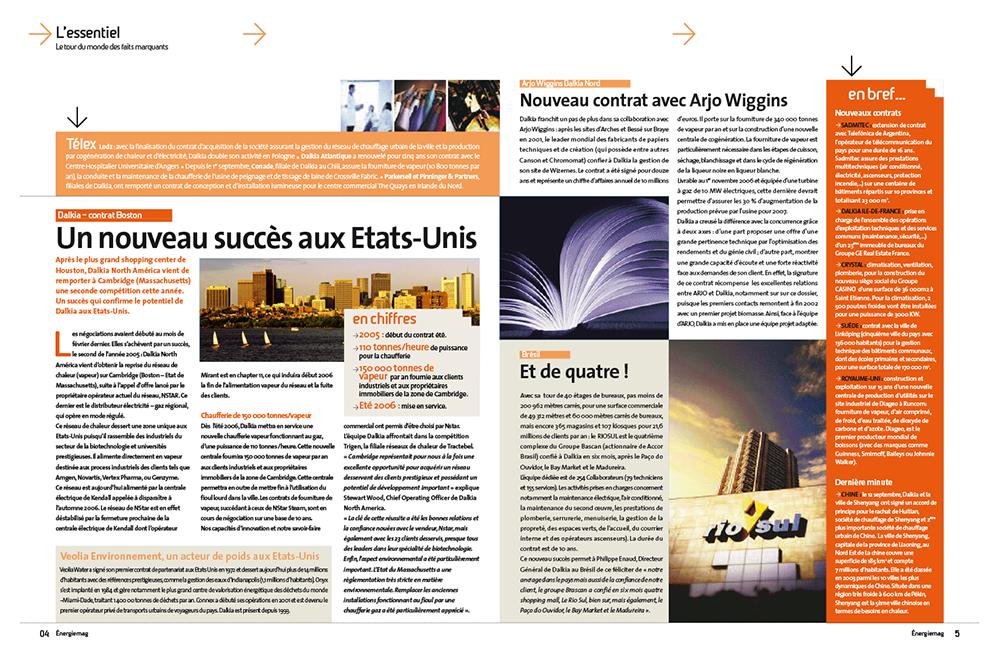 Double page magazine Dalkia Mag - Arzur Philippe Graphiste FreeLance - Tél 06 87 24 05 17 - Mise en page, création graphique, direction artistique