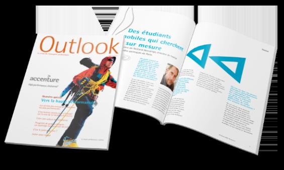 Une mise en page magazine Outlook - Arzur Philippe Graphiste FreeLance - Tél 06 87 24 05 17 - Mise en page, création graphique, direction artistique